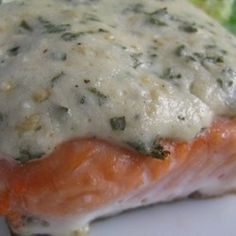 Asiago Baked Salmon: I thought this topping was quite tasty. Easy to throw together and very flavorful. The yogurt gave it a nice tang that held up well to the garlic and shallot. I could see also topping a milder fish or chicken with this. Lots of possibilities. KH - 11/13/13