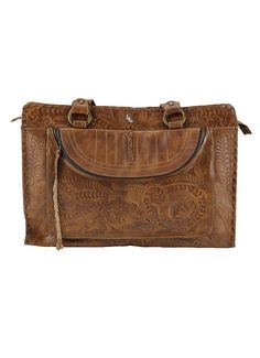 Leaders In Leather Vaquetta Tote Ipad Pocket Natural Lufli 225 Tooling