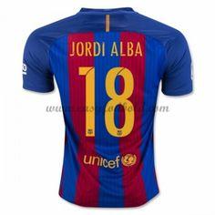 Fodboldtrøjer La Liga Barcelona 2016-17 Jordi Alba 18 Hjemmetrøje