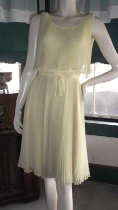 60s Chiffon Accodion Pleat Cocktail Party Dress S by gaildavid