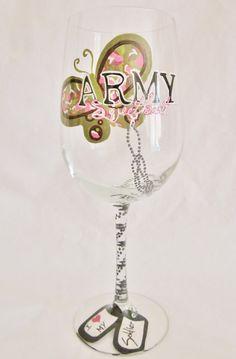 Army Sweetheart hand painted WINE GLASS (Mimossa Studio) www.operationwearehere.com/deploymentproducts.html