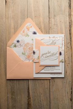 It's peach perfection with this Cynthia wedding invitation suite from Just Invite Me