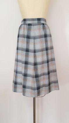 8bf5b4b5f5 1960s Grey Plaid Wool Skirt // Vintage 60s A-Line Skirt // Small Medium