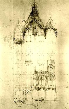 Casa Batlló, working drawing of the facade. One of the few surviving original drawings by Gaudi as the rest were lost in a fire that destroyed part of the Segrada Familla. Art Nouveau Architecture, Architecture Drawings, Architecture Design, Antonio Gaudi, Architectural Elements, Architectural Sketches, House Drawing, Gustav Klimt, Barcelona