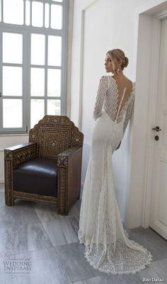 "Riki Dalal Wedding Dresses — Valencia Bridal Collection | Wedding Inspirasi | BEAUTIFUL Long Sleeve Lace Column/Sheath Wedding Gown Showcasing A ""Sheer"" Bodice With V Neckline, Court Length Lace Train; (Back View).........................................."
