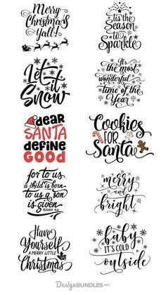 Free Christmas Quotes Design Bundle is part of Christmas svg - Cricut Fonts, Cricut Vinyl, Cricut Air, Cricut Svg Files Free, Cricut Craft Room, Noel Christmas, Christmas Projects, Christmas Design, Christmas Fonts