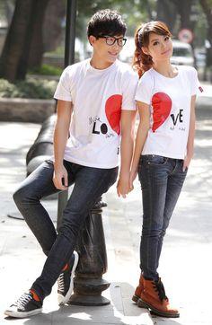 Porspor - Short-Sleeve Printed Couple T-Shirt #shortsleeve #printed #coupletshirt #couple #coupletee #tshirt #tee