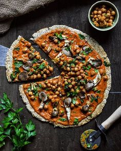 Indian inspired Pizza, since I've been helping my friend make almond milk I've had tons of almond…