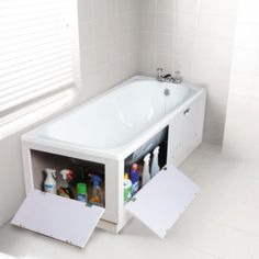 17 great design ideas if you have a small bathroom - Ma Home Design Bathtub Storage, Small Bathroom Storage, Bathroom Styling, Storage Tubs, Small Storage, Lego Storage, Extra Storage, Bathroom Organization, Tiny Bathrooms