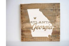 state silhouette pallet art wood sign
