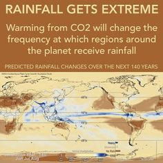 A new study from NASA shows how climate change will alter rainfall around the globe. The occurrence of no rain and heavy rain will increase, while moderate rainfall will decrease. Basically, more extremes, more floods, more droughts.