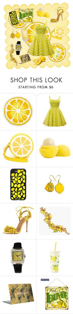 """""""lemon"""" by cherylolsen ❤ liked on Polyvore featuring Nordstrom Rack, Shiraleah, Eos, Casetify, Aquazzura, J.Crew and Kate Spade"""
