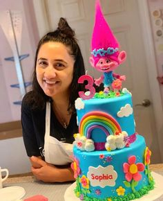 Little Pony Birthday Party, Baby Birthday Cakes, 4th Birthday, Trolls Birthday Party Ideas Cake, Girls 2nd Birthday Cake, Birthday Ideas, Bolo Trolls, Trolls Cakes, Troll Cupcakes