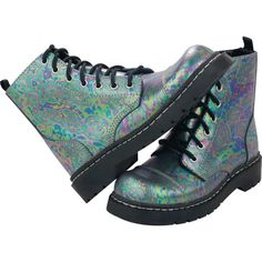 Oil Slick Metallic Leather 7 Eye Boots ($77) ❤ liked on Polyvore featuring shoes, boots, ankle booties, t u k boots, real leather boots, leather boots, metallic booties and genuine leather boots