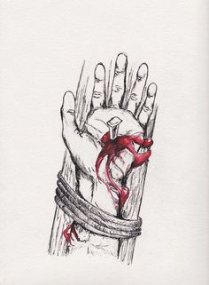 The Crucified Hand Ink and red watercolors 9 x 12 inches July 2010 The Crucified Hand of Our Lord Jesus Christ. I sketched this out years ago, and then . The Crucified Hand Christian Drawings, Christian Artwork, Catholic Art, Religious Art, Cross Drawing, Jesus Drawings, Jesus Tattoo, Jesus Wallpaper, Pictures Of Jesus Christ