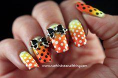 Orange, Yellow, and Black Gradient Bow Nails | Nuthin' But A Nail Thing Blog | Polka Dots, Fall Nails, Halloween Nails, 3D Bow Nail Art, Charms, Awesome Cool Nails, Claire Metcalfe, Nail It! Magazine