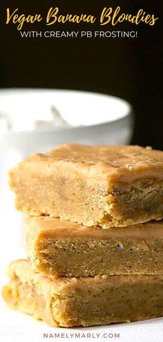 What's not to love about this delicious, moist, and easy to make vegan Banana Blondies with Creamy Peanut Butter Frosting?   #namelymarly #bananablondies #peanutbutterfrosting #vegan Vegan Treats, Vegan Desserts, Dessert Recipes, Peanut Butter Frosting, Creamy Peanut Butter, Gluten Free Recipes, Vegan Recipes, Banana Blondies, Creamy Soup Recipes