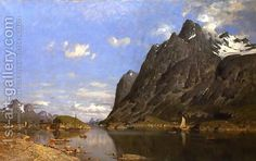 Fishing Settlement in the Lofoton Islands Adelsteen Normann | Oil Painting Reproduction | 1st-Art-Gallery.com