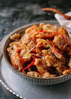 Dongbei Guo Bao Rou (Crispy Sweet & Sour Pork), by thewoksoflife.com