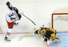 PITTSBURGH, PA - APRIL 20: Marc-Andre Fleury #29 of the Pittsburgh Penguins makes a save on Josh Anderson #34 of the Columbus Blue Jackets in Game Five of the Eastern Conference First Round during the 2017 NHL Stanley Cup Playoffs at PPG Paints Arena on April 20, 2017 in Pittsburgh, Pennsylvania. (Photo by Joe Sargent/NHLI via Getty Images)