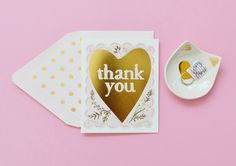 Sweet Thank You Notes for your favorite girls ;-) See more here: https://www.etsy.com/listing/211920038/thank-you-gold-foil-heart-card?ref=shop_home_active_7