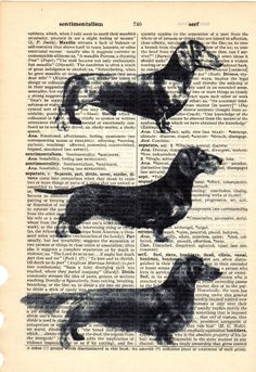 Dachshunds dictionary book page collage art print