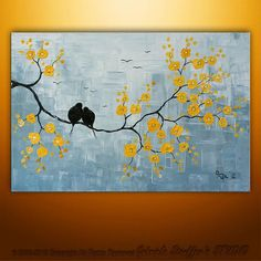 Abstract Landscape Tree Birds Painting Textured Modern Palette Knife Impasto Art by Gabriela Large Painting, Texture Painting, Painting Art, Knife Painting, Abstract Landscape, Landscape Paintings, Abstract Paintings, Abstract Art, Modern Paintings