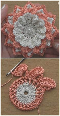 I think that a model that is contrary to ordinary knitting flower motifs will do a lot of work. I think that this crochet can inspire different motifs from different floral motifs.Very Easy Flower Embellishment - Crochet Ideas Crochet Vintage, Love Crochet, Irish Crochet, Easy Crochet, Beautiful Crochet, Crochet Flower Tutorial, Crochet Flower Patterns, Crochet Flowers, Knitting Patterns