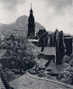 Bilin - Rathausturm vor dem Borschen