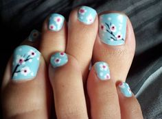 cool, nails, pedicures, flowering cherries, stylish, fashion