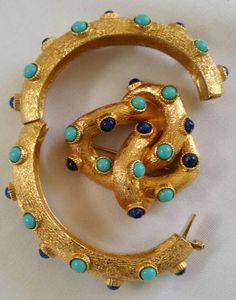 Mazer - Jomaz - Bijoux Vintage - Parure Bracelet, Collier et Broche 'Turquoises et Lapis Lazuli' - Années 60