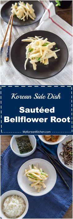 Korean side dish - Sautéed bellflower root (Doraji Namul) recipe | MyKoreanKitchen.com via @mykoreankitchen