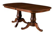 Amish Oakland Double Pedestal Table Amish made in America in choice of wood and stain. A formal style dining table with extensions available.