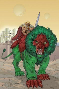 King Grayskull & King Grayskull's Lion. Art by Enza Fontana and colour by Jukka Issakainen.