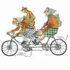 made by: Olga Gromova , illustration Illustrations, Illustration Art, Old Lady Humor, Image Digital, Old Folks, Bicycle Art, Bike, Art Impressions, Tandem