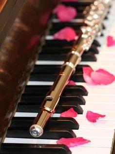 flute and piano +Rose petals