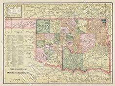 Vintage State Map Oklahoma 1895 by Imagerich on Etsy