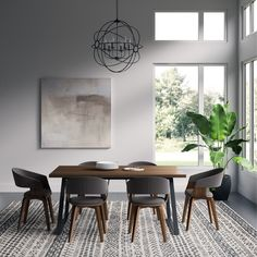 Lowell II 7 Piece Dining Set in Natural & Charcoal Grey - Simpli Home looking for that perfect solution for your dining needs, you look for style, space and functionality. The Lowell Mid Century Modern 7 piece Dining Set meets your entertai Black Dining Room Furniture, Gray Dining Chairs, Dining Room Design, Dining Room Chairs, Bar Furniture, Furniture Deals, Modern Chairs, Design Table, Coaster Furniture