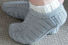 Galler Yarns: Cabled Cozies Slippers Pattern by Stacey Gerbman - free Knitted Slippers, Slipper Socks, Knit Mittens, Crochet Slippers, Knit Or Crochet, Knitting Socks, Knit Socks, Mittens Pattern, Knitting Needles