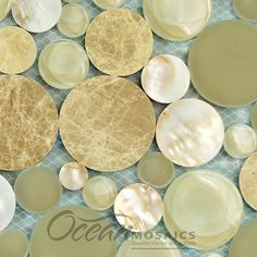 Beige Circle mother of pearl, marble and glass mosaic tile - Agata Circle Shell Beige mosaic glass tile - the ultimate sophistication for kitchens and bathrooms. Order a sample and see the beauty! | circle tile backsplash kitchen | circle mosaic tile kitchen backsplash | mother of pearl backsplash bathroom | mother of pearl tiles bathroom