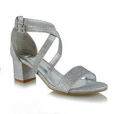 Oferta: 25.99€. Comprar Ofertas de ESSEX GLAM Mujer Strappy Tacón Bajo Correa de Tobillo Plata Resplandecer Noche Zapatos EU 41 barato. ¡Mira las ofertas!