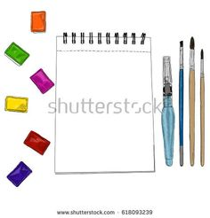 Vector illustration of artist creative set watercolors sketchbook and brushes