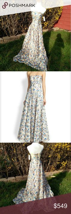 ⭐ Alice + Olivia Dreema Floral Gown Feel like a princess in this decorative Alice + Olivia ball gown that blossoms with a flowery print that weeds out the potential for a boring garment.  Floral printed sateen gown.  Strapless straight neckline.  Fitted bodice.  Back zip.  Full, A-line skirt sweeps floor.  Polyester; nylon/polyethylene film; polyester lining.  Imported.  Perfect for prom or a wedding. Alice + Olivia Dresses