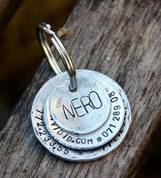 Custom Layered Pet ID Tag in Distressed Aluminum. thecopperpoppy.etsy.com