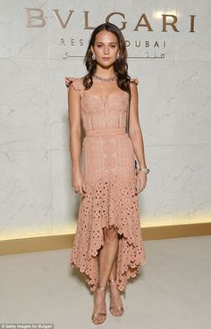 Bella Hadid and Alicia Vikander dazzle at Dubai Bulgari resort : Pretty in pink: The supermodel was joined by actress Alicia Vikander, who stunned in a romantic rosy low-high lacy frock for the star-studded affair. Beautiful Dresses, Nice Dresses, Short Dresses, Prom Dresses, Elegant Dresses, Club Dresses, Beautiful Toes, Gorgeous Girl, Bridesmaid Dresses