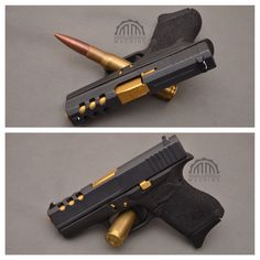 Change the gold to pink or maybe red for my Glock Glock Mods, Glock 9mm, Gun Cases, Military Guns, Top Gun, Tactical Knives, Guns And Ammo, Firearms, Hand Guns