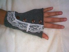 Fingerless Gloves with lace and buttons by AGirlAndHerGloves, $15.00