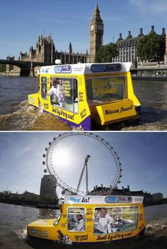 Amphibious Ice Cream Van on the River Thames, London, I'll have a 99 please!
