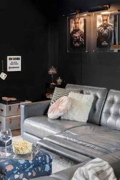 Bringing The Movie Theater Home With Your Family In Mind (It's A REVEAL Y'all!) - Emily Henderson #tvroom #movieroom #homedecor Living Room Furniture, Living Room Decor, Living Spaces, Acrylic Cabinets, At Home Movie Theater, Reclining Sectional, Paint Colors For Living Room, Decorating Small Spaces, Cool Rooms