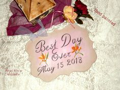 Rustic Wood Wedding SignHand paintedBest Day Ever by weddecor Wood Wedding Signs, Wedding In The Woods, Rustic Wood, Small Businesses, Hand Painted, Invitations, Group, Amazing, Handmade Gifts